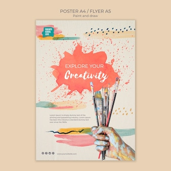 Bouquet of paint brushes poster template