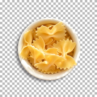Bow tie pasta isolated on isolated transparent background.