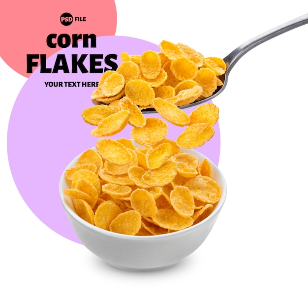 Bowl and spoon with falling corn flakes packaging design