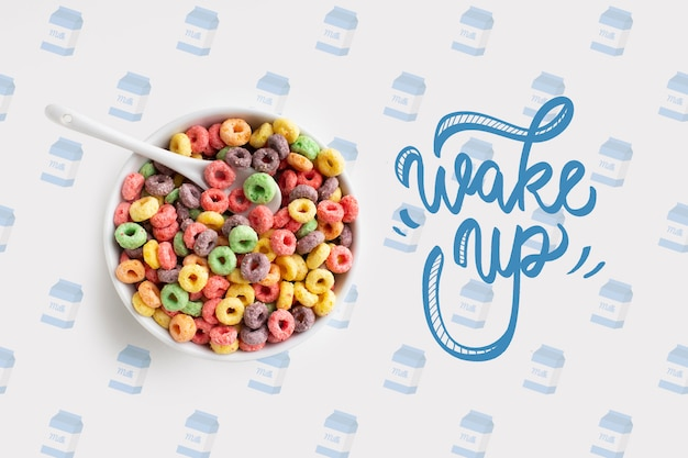 Bowl with cereals for breakfast mock-up