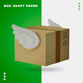 分離された3dレンダリングのボックスクラフト紙