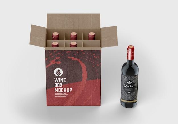Коробка для мокапа винных бутылок