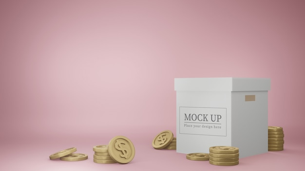 Box mockup with golden coins.
