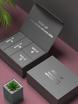 실버 컬러 로고가있는 상자 종이 포장 모형