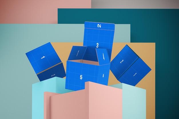 3d 디자인 모형 모형의 상자 렌더링