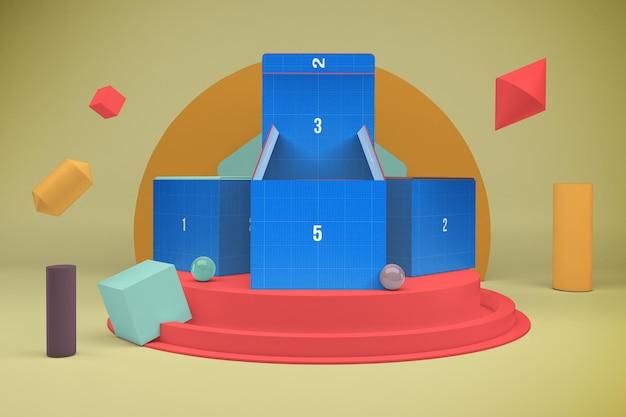 Визуализация коробки в 3d-макете дизайна