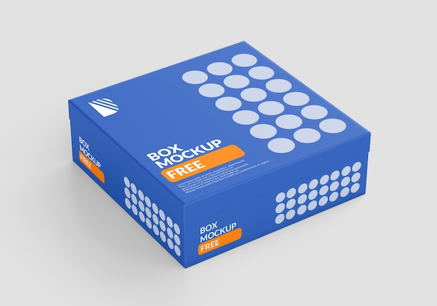 Box square mockup isolated