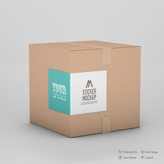 Box sticker mockup design isolated