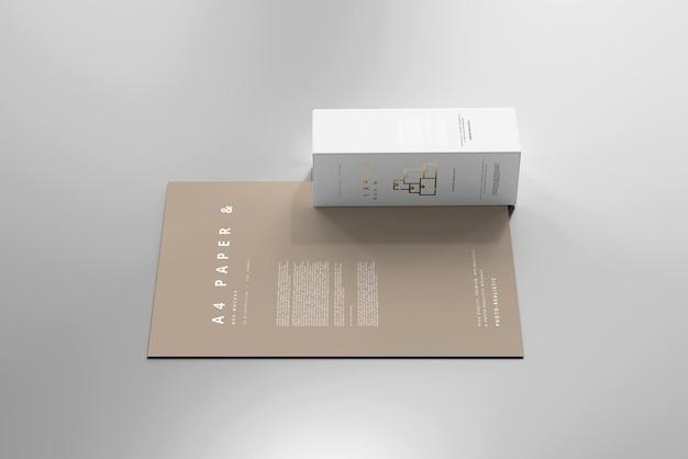 A4 용지 모형이있는 상자