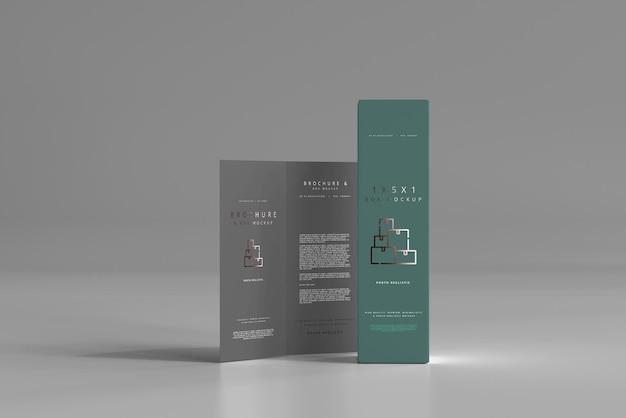 Scatola con mockup brochure pieghevole