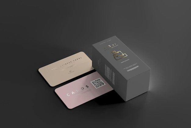 Box with business cards mockup