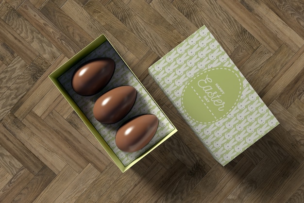 Box with chocolate eggs for easter