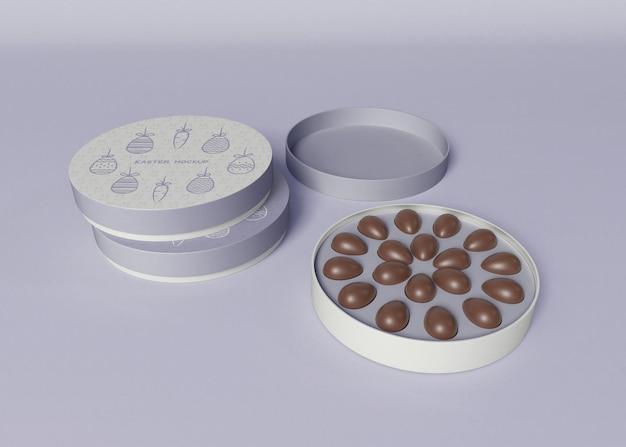 Коробка с яйцами мокап. пасха