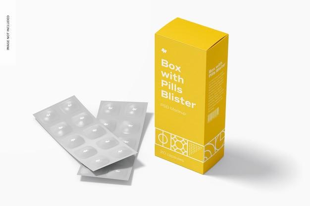 환약 물집 모형이있는 상자