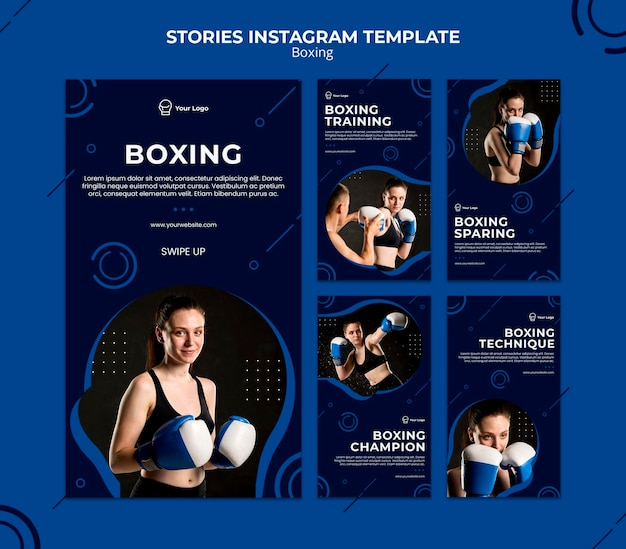 Box workout sport instagram stories template