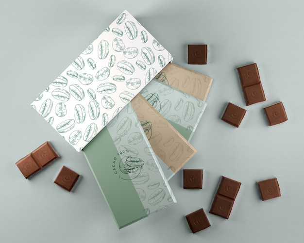 Box and wrapping paper for chocolate design