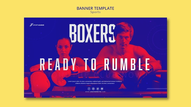Boxer athletes banner template