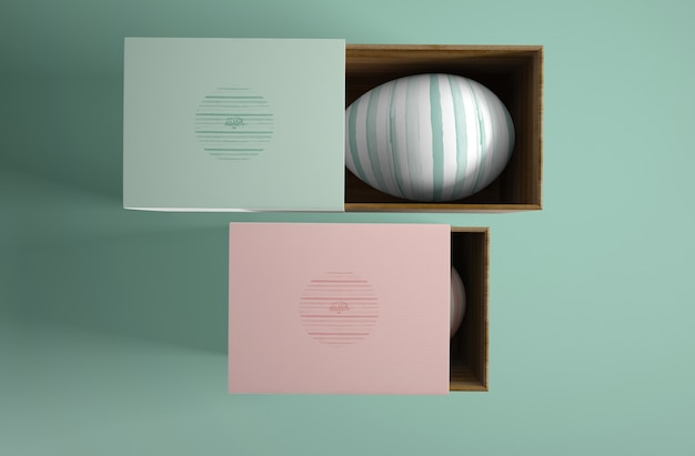 Boxes with painted eggs for easter Free Psd