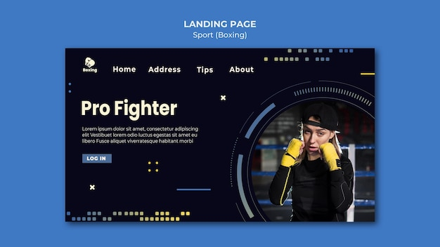 Boxing ad landing page template