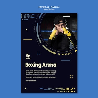 Шаблон плаката боксерской рекламы