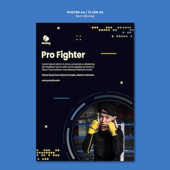 Boxing ad poster template