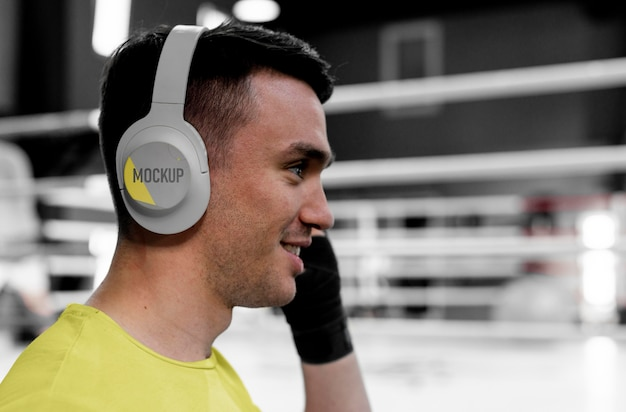 Boxing athlete wearing a mock-up headset
