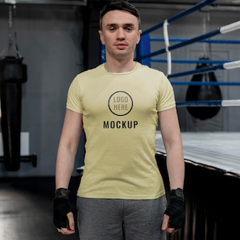 Boxing athlete wearing a mock-up t-shirt