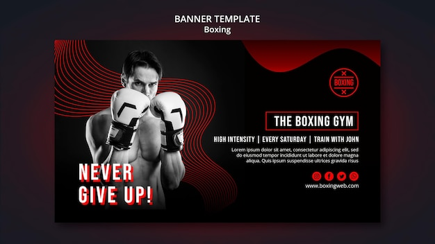 Boxing banner template with photo