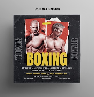 Boxing champion promotion flyer template