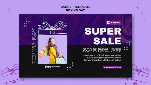Boxing day horizontal banner template