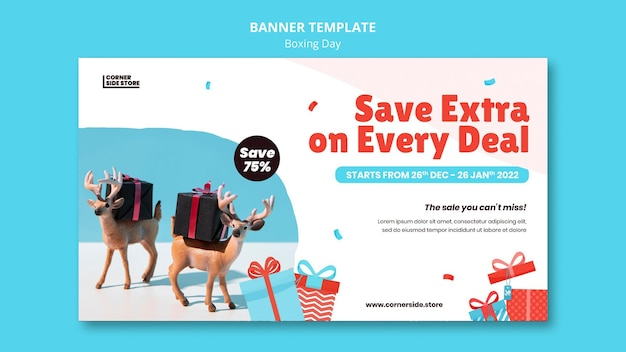 Boxing day sale horizontal banner template