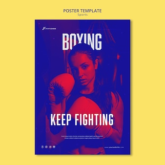 Boxing female athlete poster template