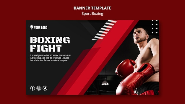 Boxing fight banner web template