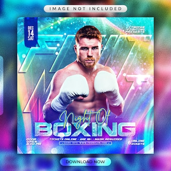 Boxing flyer or social media banner template