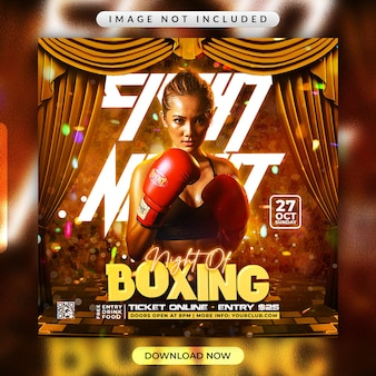 Boxing flyer or social media promotional banner template