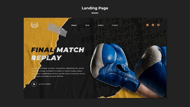 Boxing landing page template