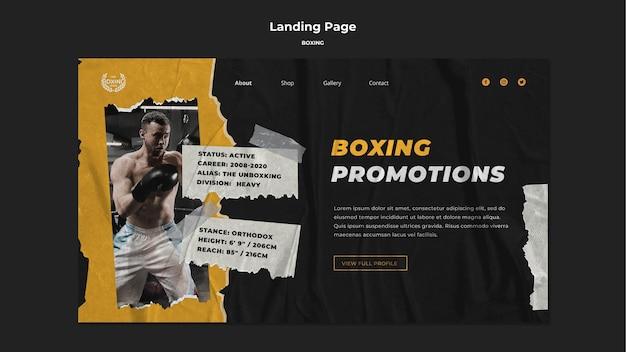 Modello di pagina di destinazione di boxe