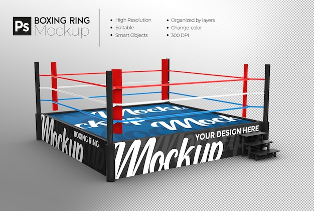 ボクシングのリングのモックアップデザインのレンダリング