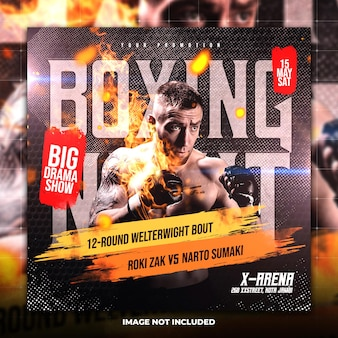 Boxing social media and instagram post template