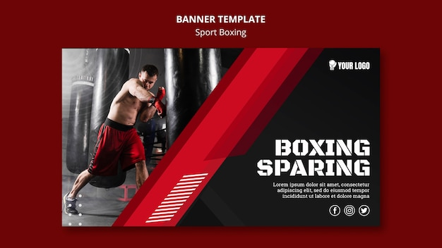 Boxing sparing banner web template