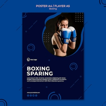 Boxing sparing workout sport poster template