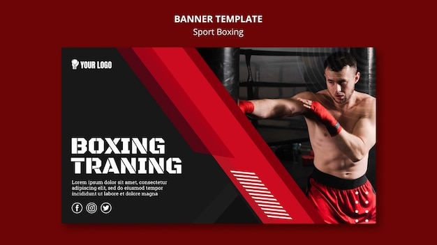 Boxing training banner web template