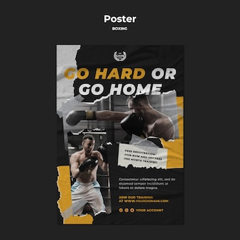 Boxing training poster template