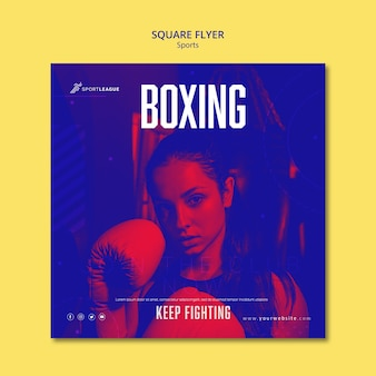 Boxing woman square flyer