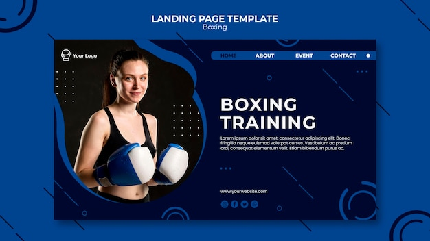 Boxing and workout fit landing page