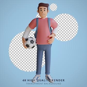少年サッカーマスコット3dキャラクターイラスト