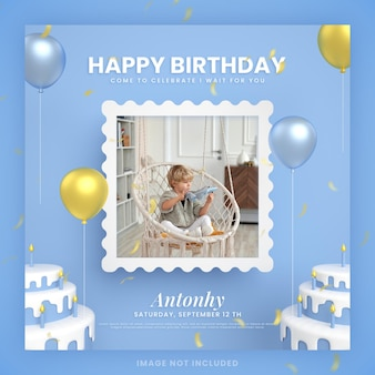 モックアップと青いinstagramソーシャルメディア投稿テンプレートの男の子お誕生日おめでとうケーキ招待状
