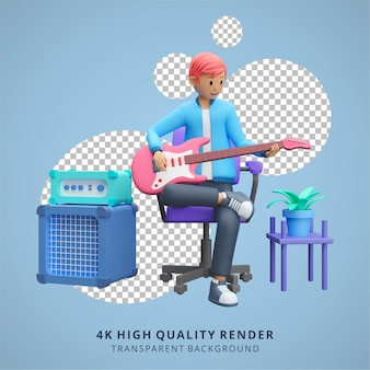 Boy playing electric guitar stay at home illustration high quality 3d render