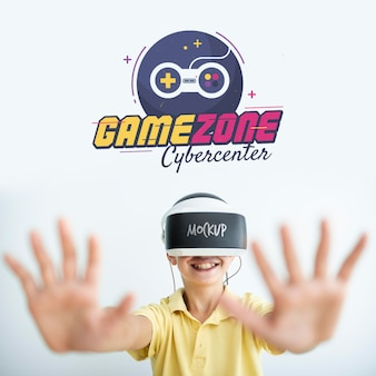 Boy playing games mock-up