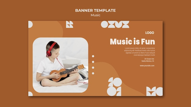 Boy playing ukulele and wearing headphones banner
